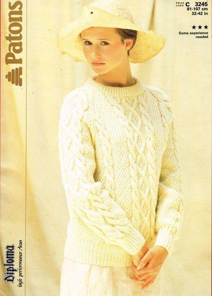 Patons 3245 ladies aran jumper vintage knitting pattern
