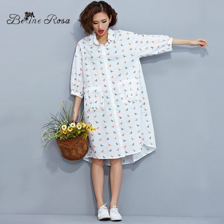 2016 Big Sizes Clothes for Women Elegant Women's Shirts Short Sleeve Bird Print Loose Long White Blouse(BelineRosa XM0019)
