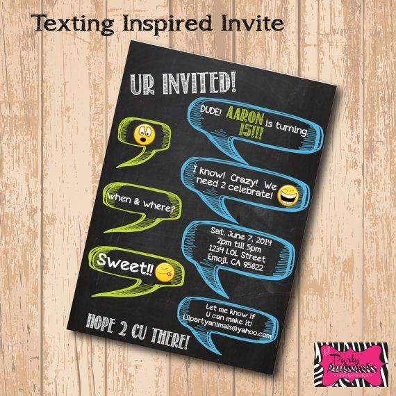 DIY Printable Chalkboard Text Inspired Party Invite on Etsy, $12.00