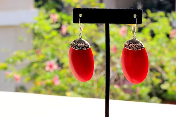 Red Nepalese sterling silver dangle earring