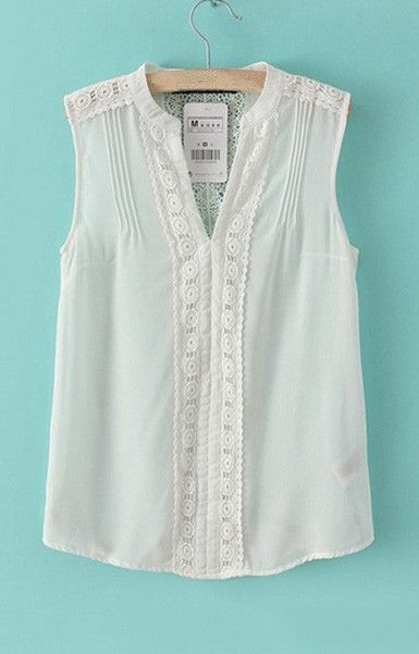 V-Neck White Chiffon Tank Top – Trendy Road