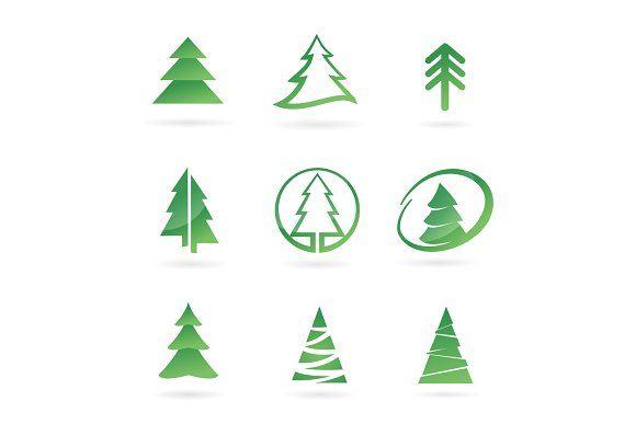 Pine Tree Logo Bundle Christmas Tree Tree Logo Design Tree Logos Christmas Tree Logo
