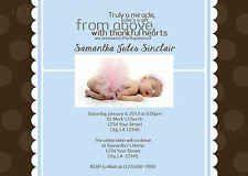 Custom Polka Dot Boy Baby Baptism Dedication Invitation 5x7 You Print