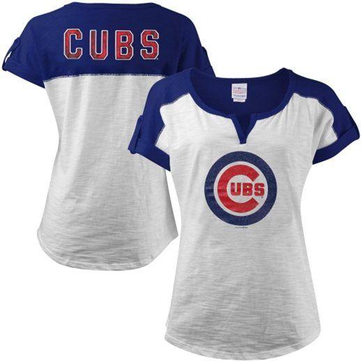 Chicago Cubs Women's White Glitter Logo Slub T-Shirt