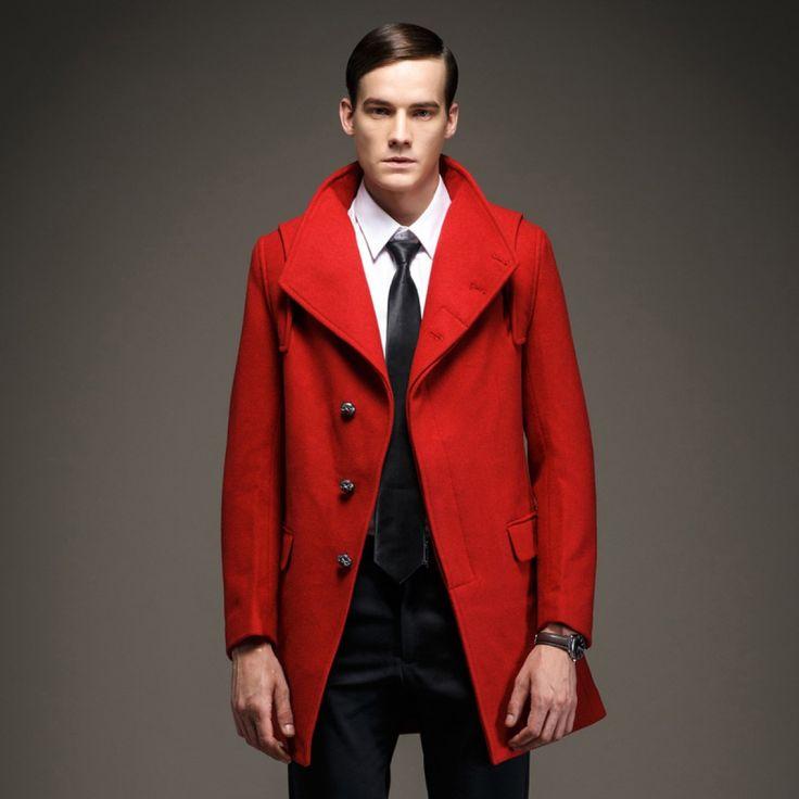 Manteau Laine Homme Hiver avec Fermeture à Boutons Dissimulés