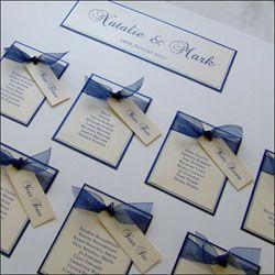Navy, White and Silver Wedding Table Plan with Navy Organza Ribbon £65.00 #wedding http://www.weddingparaphernalia.co.uk/wedding-table-plan-alabama.htm