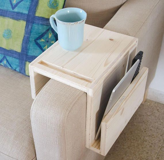 Ipad Tablet Smartphone Stand Holder Couch Table Sofa Wooden Side Table Gift For Him Boyfriend D Coffee Table Design Couch Arm Table Coffee Table Inspiration
