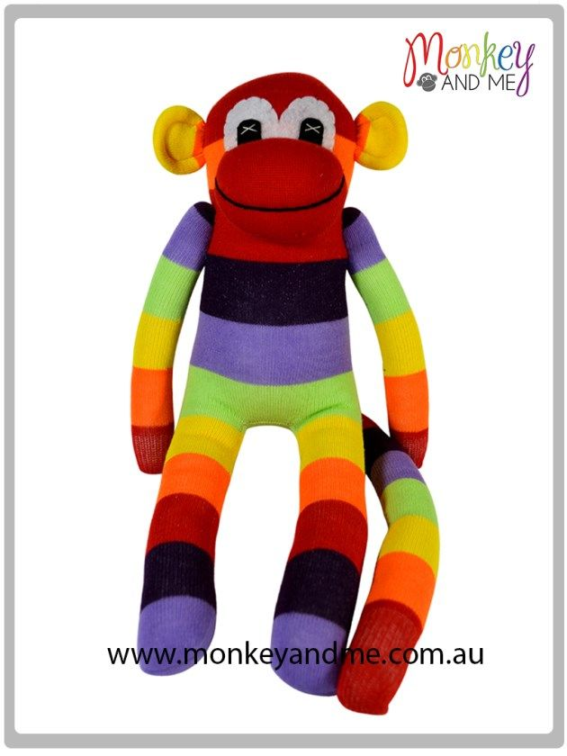 Red wide stripe rainbow Sock Monkey Adopt over at monkeyandme.com.au #sockmonkeys #gifts #toys #monkey