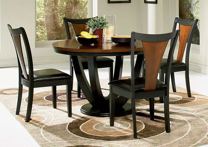 Boyer Black / Cherry Table W/ 4 Cherry Dining Chairs,