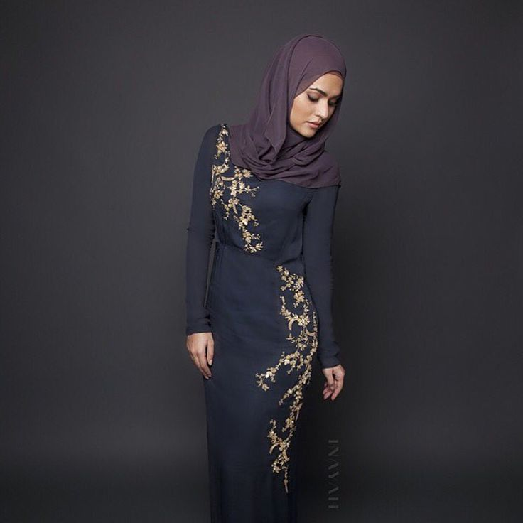 INAYAH | Alicia Evening #Gown styled with the Charcoal Georgette #Hijab