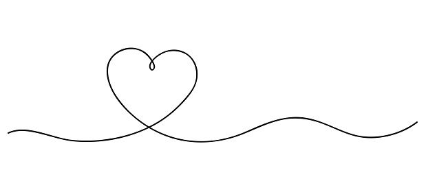 Heart Continuous Line Art Drawing Hand Drawn Doodle Vector Line Art Vector Line Art Line Art Drawings