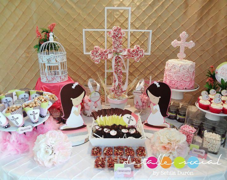 Mesa decorada para comuni n comuni n y confirmaci n - Decoracion mesas fiestas ...