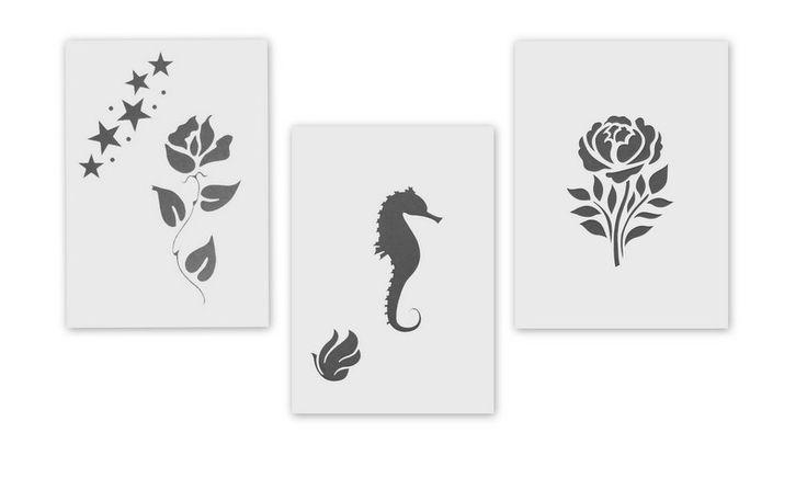 Schablonen - Schablone Blume Seepferdchen Rose 3er Pack - ein Designerstück von Aluschablone bei DaWanda