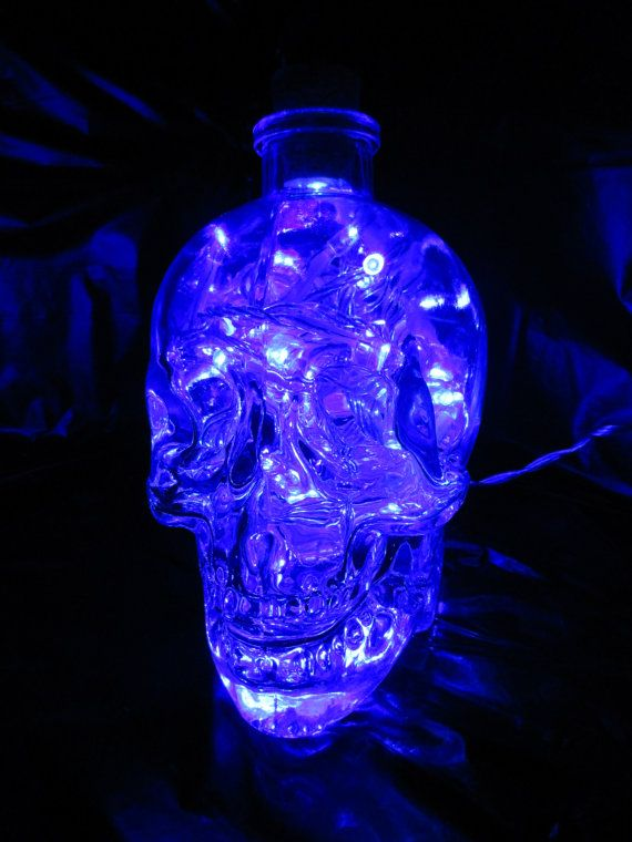Crystal Glass Head Skull Vodka Lamp Light by AfterGlowsByStacey, £40.00