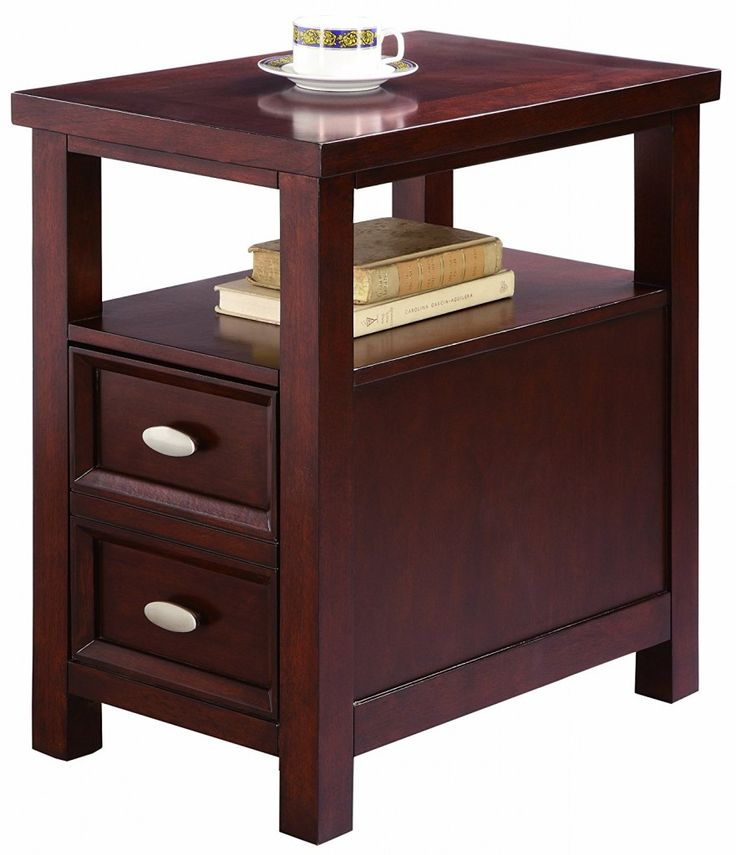 Narrow End Table With Drawers