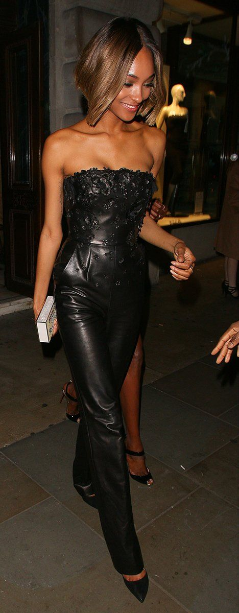 Jourdan Dunn Softens the Look of the Sexy Leather Jumpsuit
