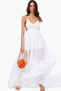 Белый Спагетти ремень Вышитые плиссированные макси платья