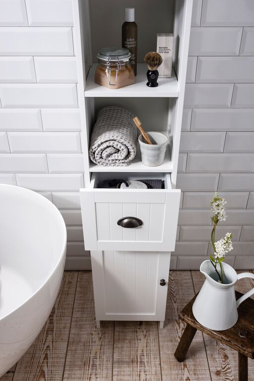 Noa and Nani Stow Tallboy Bathroom Cabinet in White | £59.99 | #Bathroom #Furniture #HomeDecor