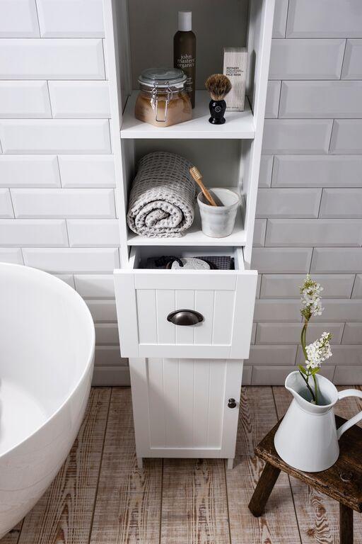 Noa and Nani Stow Tallboy Bathroom Cabinet in White | £59.99 | #Bathroom #Furniture #HomeDecor