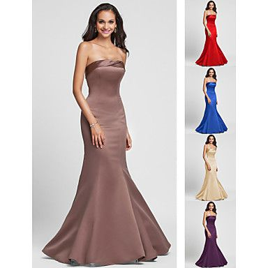 Floor-length Satin Bridesmaid Dress - Ruby / Royal Blue / Brown / Champagne / Regency Plus Sizes / Petite Trumpet/Mermaid Strapless – USD $ 64.99