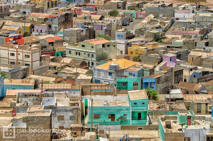 A wild mix of houses in pastel colours. Espargos the capital city of Sal (Cape Verde).