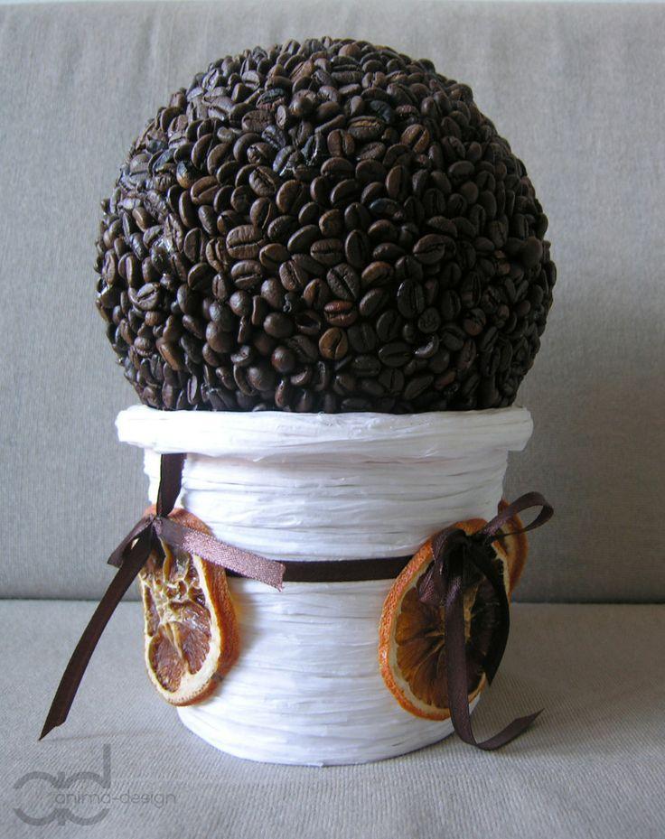 Styrofoam ball all over in coffee. Made by Interior designer Marta Czapla