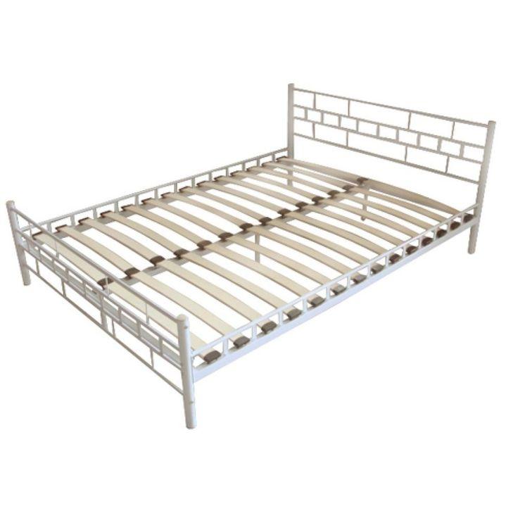 White Metal Double Bed Frame Modern Bedroom Home Furniture Bedstead Wooden Slats
