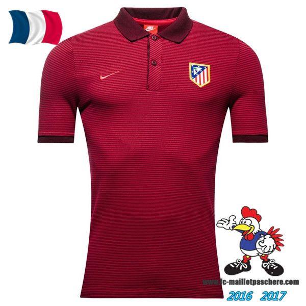 Promo Polo De Foot Atletico de Madrid Rouge 2016/2017 Pas Cher