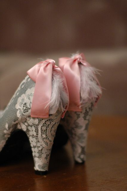 Marie Antoinette Shoes / Gray & Pink... White LACE ... LARGE Picture