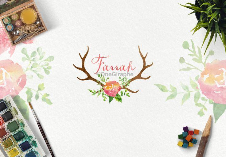 Farrah #2 for sale now: http://one-giraphe.com/prev.php?c=127 #logo #logodesign #graphic #graphicdesign #readymade #logostore #watercolor #watercolorlogo #etsy #pinterest #instagram #behance #dribbble #logopond #affordable