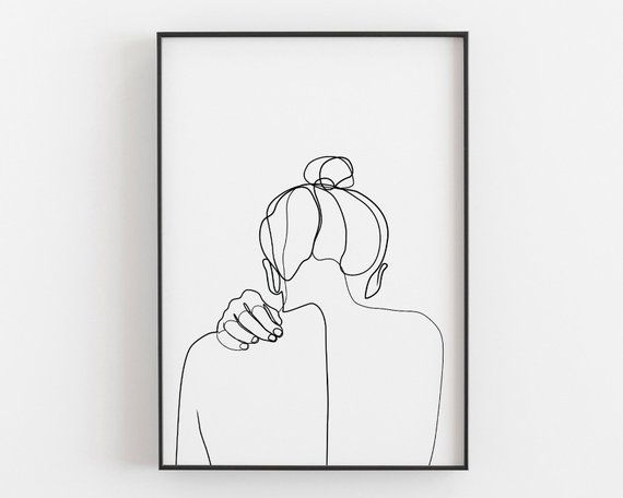 woman back drawing female art print one line art printable wall art woman silhouette hand art girl room decor minimalist art