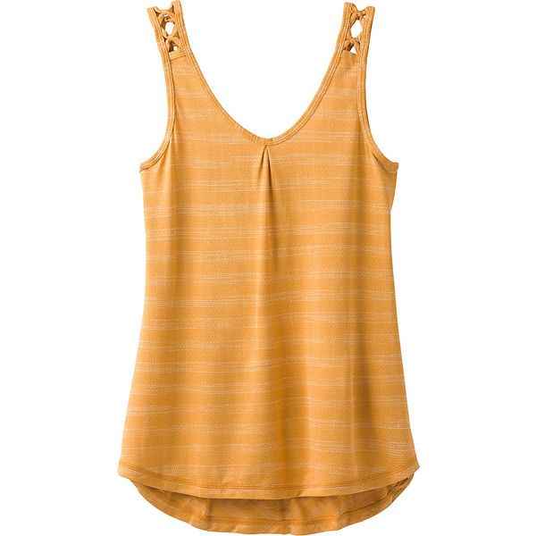 PrAna Serene Tank - XS - Golden Barrel - Women's Shirts (2.755 RUB) ❤ liked on Polyvore featuring tops, tan, crochet tank tops, strappy shirt, prana shirts, beige shirt and striped tank top