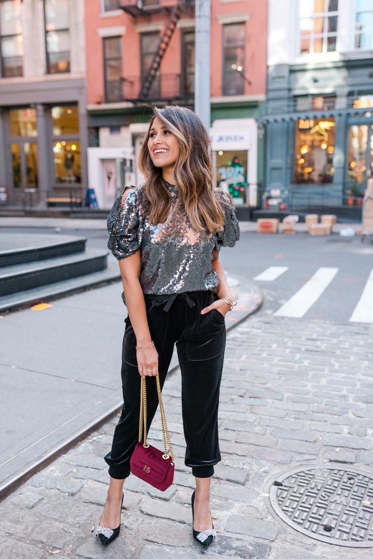 201fdeb7cfc Holiday Party Style  Velvet Joggers   Sequins