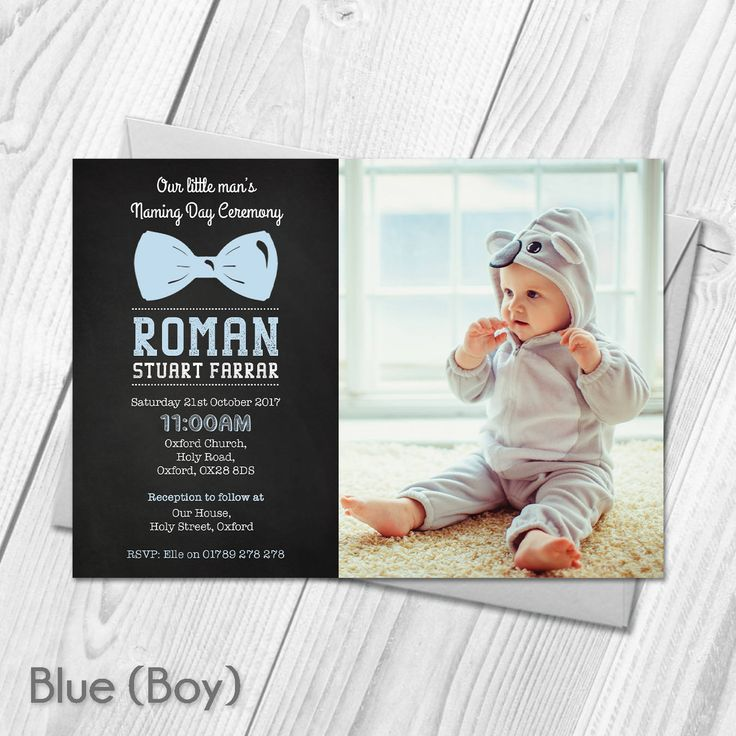 wording for party invitations uk%0A Personalised Photo Christening Baptism Invitations   Naming Day  Announcement   Boy or Girl Invites   Digital