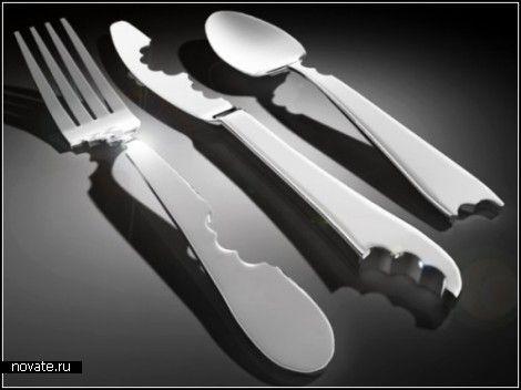 Покусанные столовые приборы Bite Silverware. Дизайн-проект Марка Рейджельмана II (Mark A. Reigelman II)  И все же это несправедливо. Ведь говоря о посуде, дизайнеры обычно имеют ввиду только тарелки, чашки и блюдца, которые проектируют, а о столовых приборах почему-то забывают. Впрочем, на днях на сайте Культурология.ру мы писали о необычных ложках-привычках Silver Sensations, созданных дизайнером Ezgi Turksoy. А сегодня рассмотрим еще один необычный набор столовых приборов, автором которого…