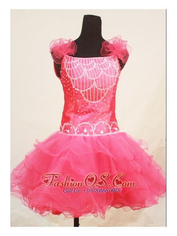 Custom Made Sweet Straps Mini-length Pink Organza Beaded Little Girl Pageant Dresses  http://www.fashionos.com  http://www.facebook.com/fashionos.us  This organza pageant dress for your Princess will put her on center stage, it features ruffled shoulder straps. A beautiful beaded bodice and a short layered skirt completes this look. This dress is sure to be a head turner!