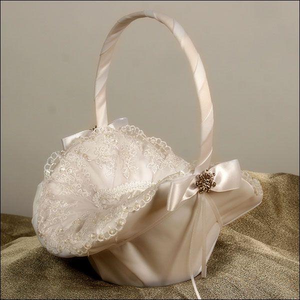 Allure Ivory Flower Girl Basket