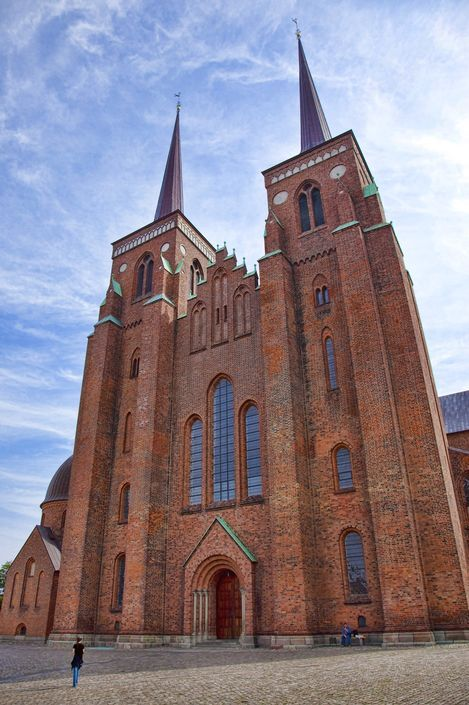 Exterior of Roskilde Cathedral in Denmark.