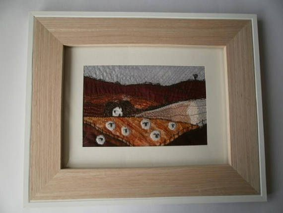 Sheep Country Textile Art