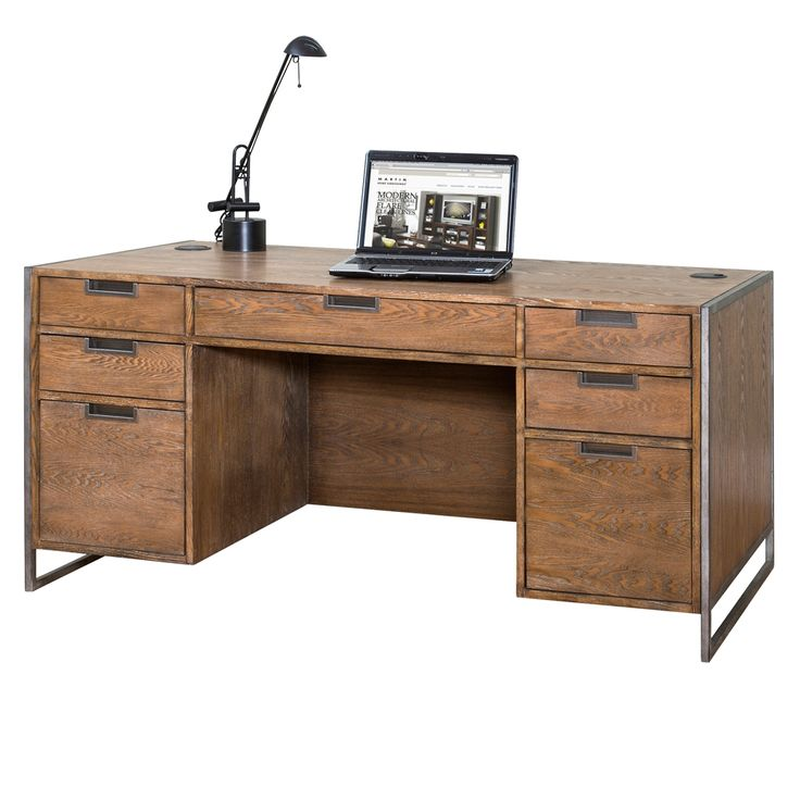wire brushed compact desk industrial rustic chic