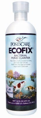 Brand New, MARS FISHCARE NORTH AMERICA, - POND ECOFIX 16OZ (POND PRODUCTS - POND - WATER CARE) by MARS FISHCARE NORTH AMERICA,. $15.33. Brand New, MARS FISHCARE NORTH AMERICA, - POND ECOFIX 16OZ (POND PRODUCTS - POND - WATER CARE)  Bacterial Pond Clarifier •Bacterial pond clarifier helps create a healthy ecosystem for pond fish. By digesting sludge, and reducing organics, EcoFix increases oxygen levels and makes pond water clean and clear. Helps create a health...