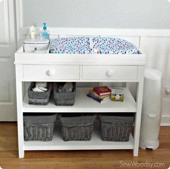 Build your own Pottery Barn Kids inspired changing table with both open and closed storage for less than $100!