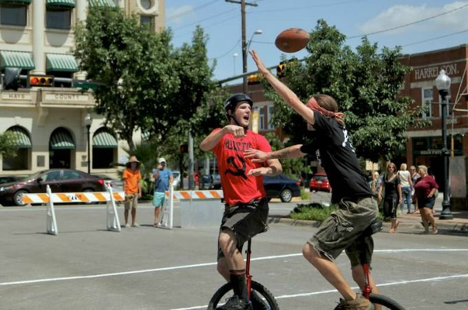 The Unicycle Football League is in full swing in San Marcos. Go see folks balance on a one-wheeled bike while playing football. Games are held on Sundays.