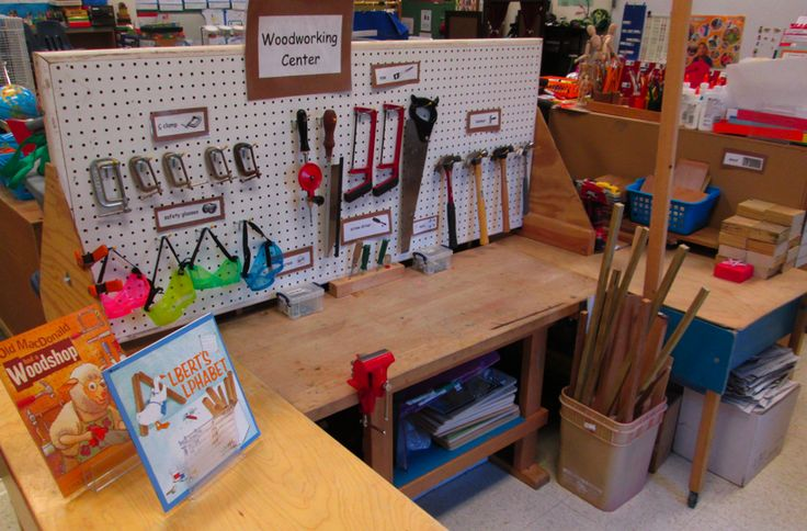 The Woodworking Center is ready to go. We are beginning our Tools We Use week in Scholastic's Imagine It, Make It theme and the children will be making and creating things using real tools. I look forward to this center every year, but there are safety rules and when it is open, a teacher is always close by.