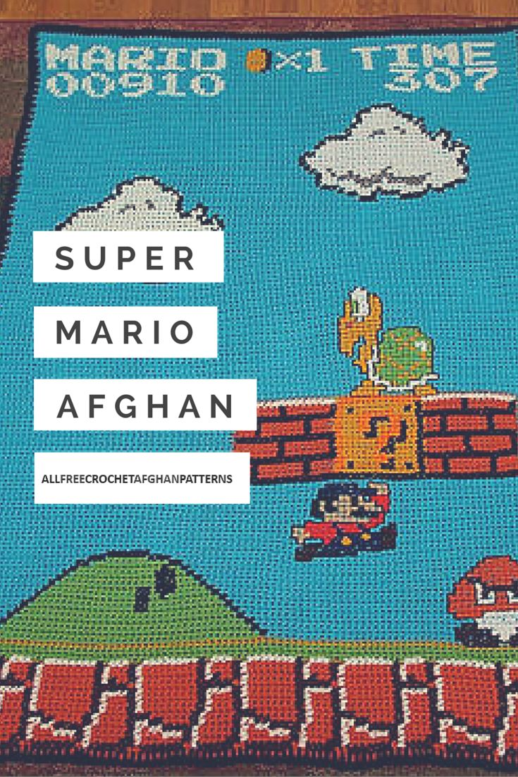 You might not believe your eyes, but this Super Mario Afghan is all done in single crochet. This free crochet afghan pattern is a superb rendering of the Super Mario video game that so many kids love.