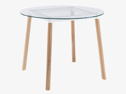 BRYCE WHITES Wood Round glass dining table - HabitatUK