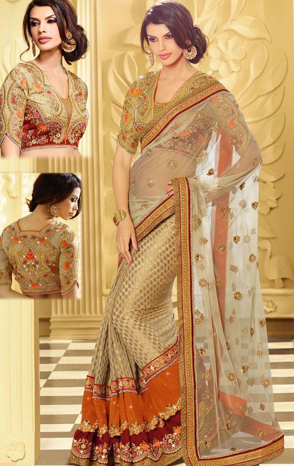Culture Cream Color Wedding Saree