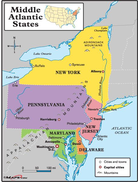 map of mid atlantic states - Google Search