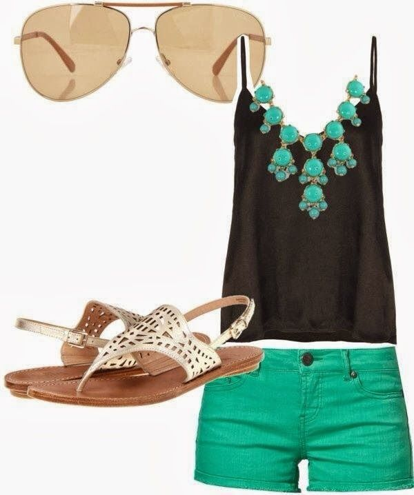 Gorgeous Summer Street Style - Blouse, Green Short, Adorable Shoes and Sunglasses