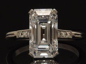 Antique Tiffany Co. 1920's Deco Platinum and 3.95 CTW Diamond Engagement Ring.